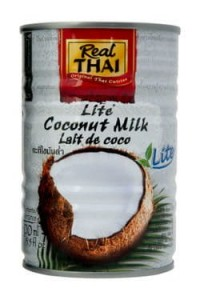 Coconut Milk lite de coco, Mleczko kokosowe Light w puszce 400ml, Real Thai